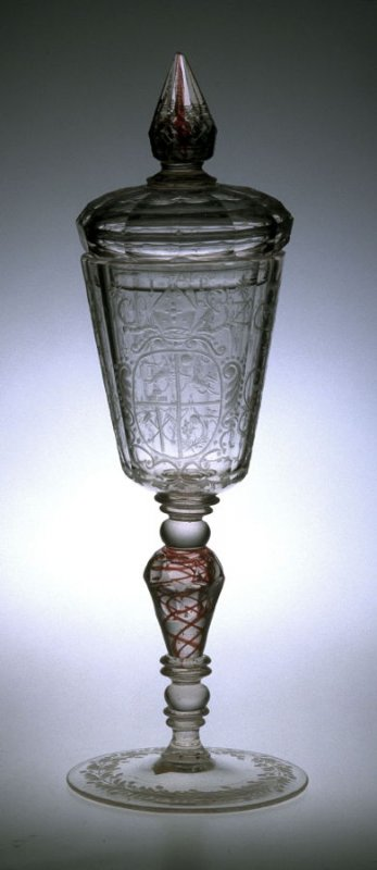 Covered goblet (pokal) with red and gold inclusions