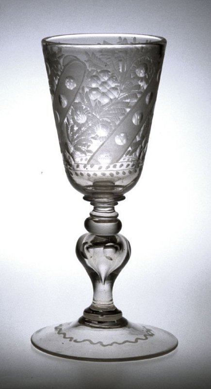 Goblet engraved with typical flower sprays