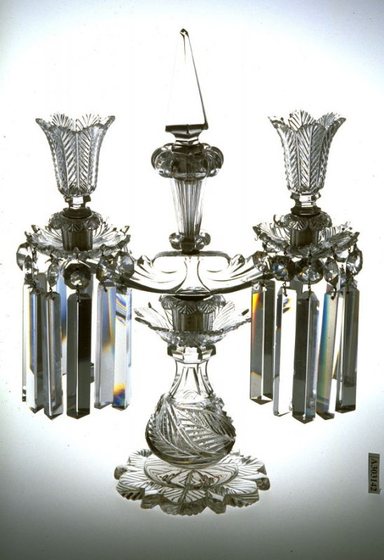Double light candelabra with baluster stem and hanging prism