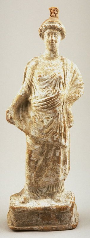 Standing draped female figure with conical headdress