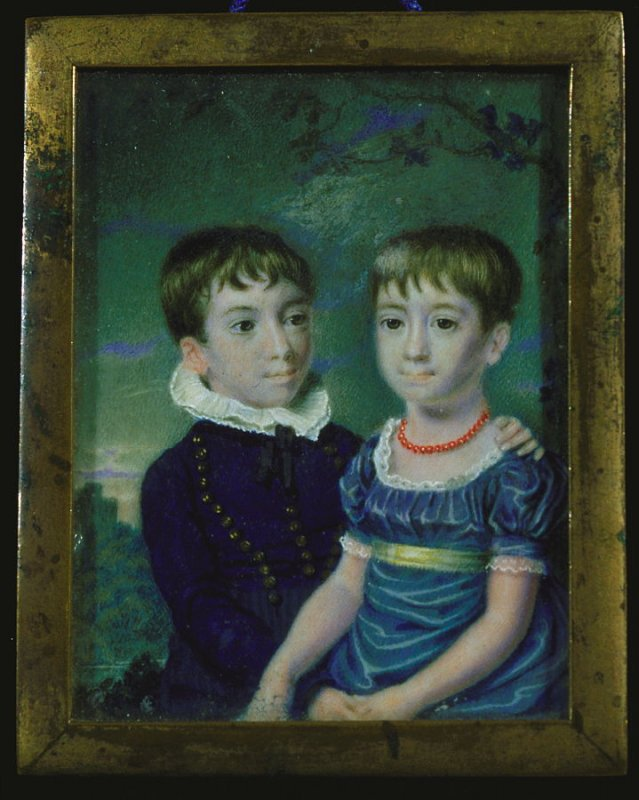 Boy and girl rectangular, boy in blue & girl in blue dress & necklace