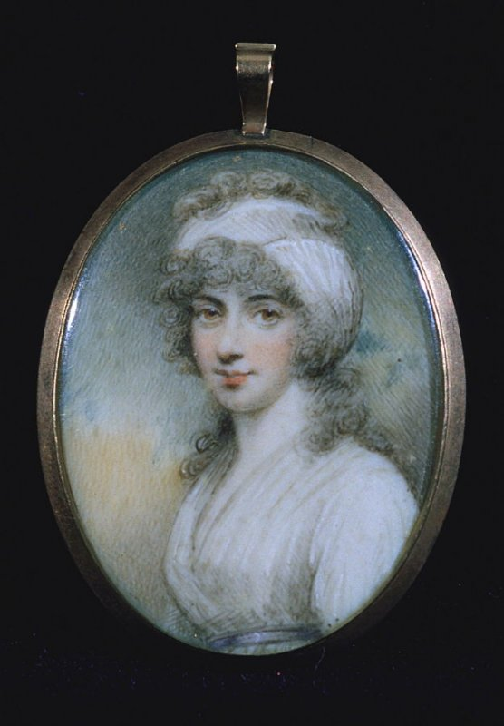 """Miniature Portrait of a woman; inscribed on back """"JR"""""""