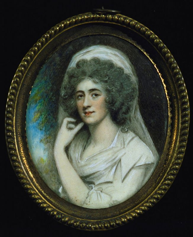 Portrait of a woman wearing a white hat and dress