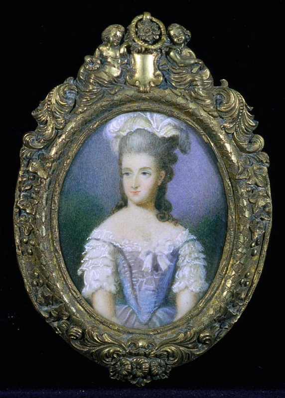 Oval portrait of woman in blue & white dress with feather hat; ornate frame with leaves, etc