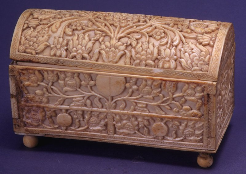 Coffer with floral relief decoration