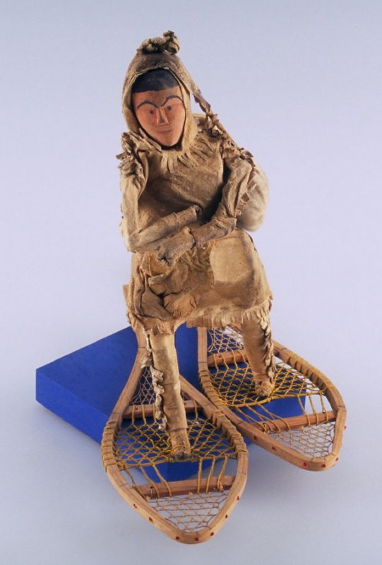 Figure on snow shoes
