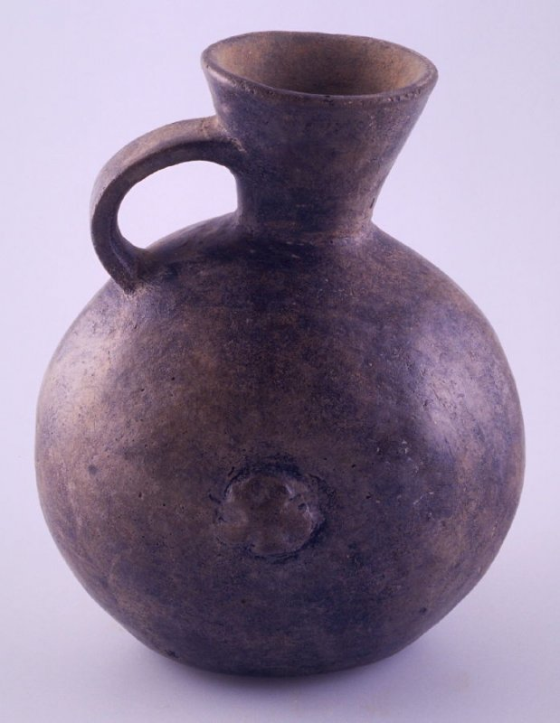 Jar with flared neck and protuberance