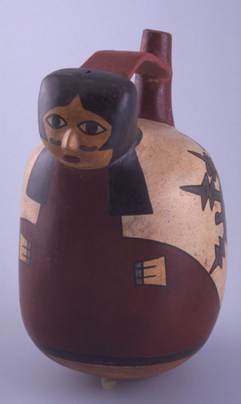 Stirrup vessel with two faces and one head