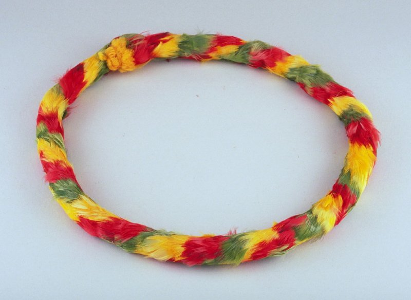 Red, yellow, and green lei