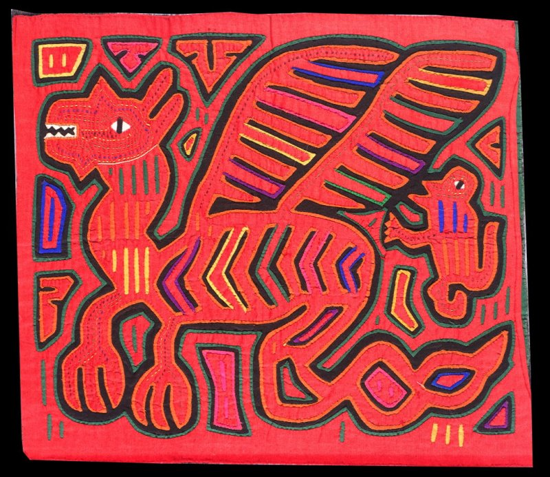 Mola panel with dragon design