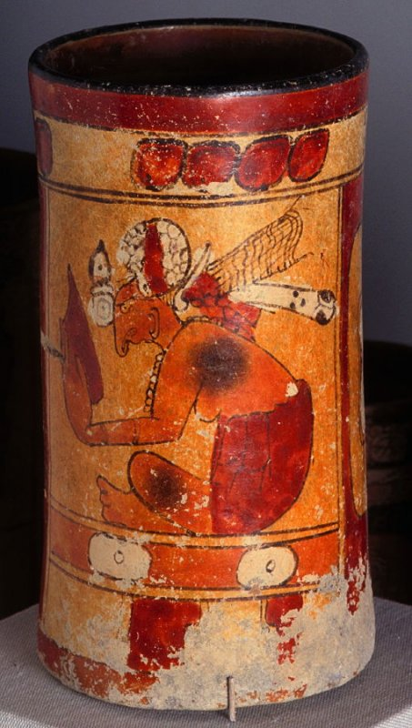 Cylinder with Seated Lord Holding a Mirror