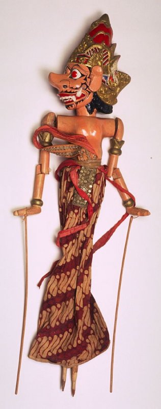 Wayang Golek doll with detached head, and gold and red helmet