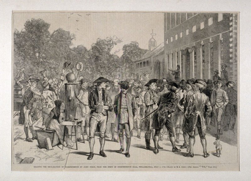 Reading the Declaration of Independence By John Nixon, From the Steps of Indepence Hall, Philadelphia July 8 1776, from Harper's Weekly, (15 July 1876), p. 573