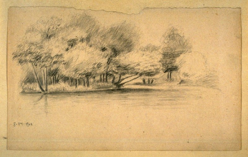 Landscape with Trees by a River