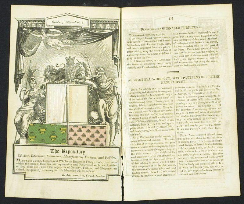 Allegorical Woodcut with Patterns of British Manufacture from the Repository of Arts, Literature, Commerce, Manufactures, Fashion and Politics, Volume 2, October 1809