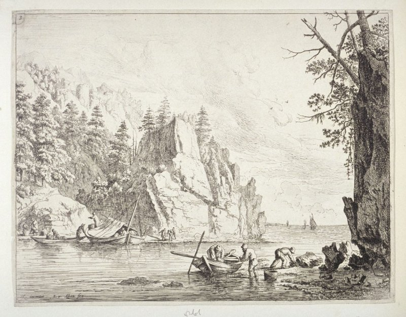 View of the Rhine No. 3. Unloading boats in a cove of the river. (crawfish hunters on the Rhine)