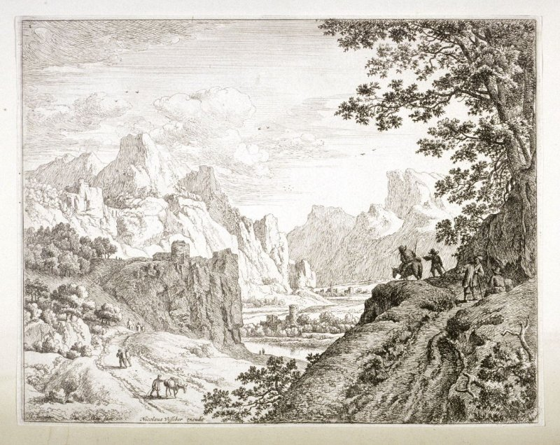 View of the Rhine No. 1. Peasants talking on a hill at right.