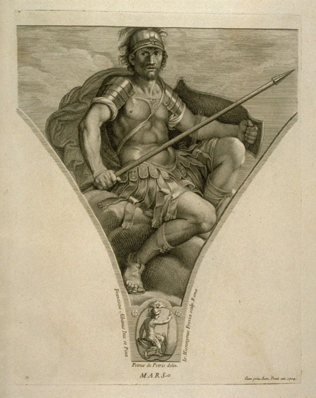 Mars, twelfth plate in Picturae Francisci Albani in aede Verospia ([Rome?]: no publisher, [1704?]), second part in miscellany with spine title: Opere d. div. pittori et gugliae di Roma.