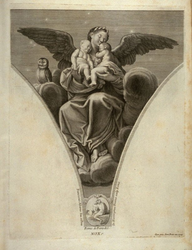 Nox, thirteenth plate in Picturae Francisci Albani in aede Verospia ([Rome?]: no publisher, [1704?]), second part in miscellany with spine title: Opere d. div. pittori et gugliae di Roma.