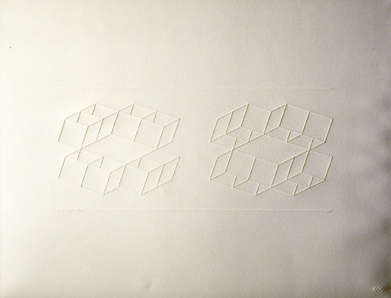 Embossed Linear Construction 1-C, from a portfolio of 8 inkless embossings