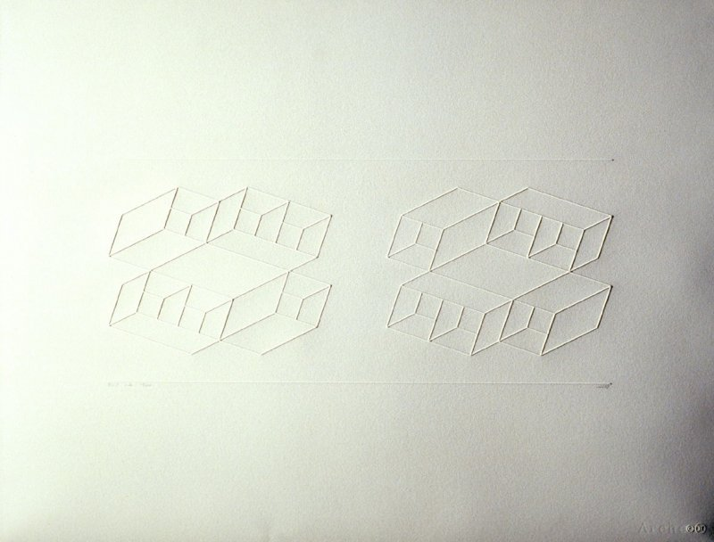 Embossed Linear Construction 1-A, from a portfolio of 8 inkless embossings