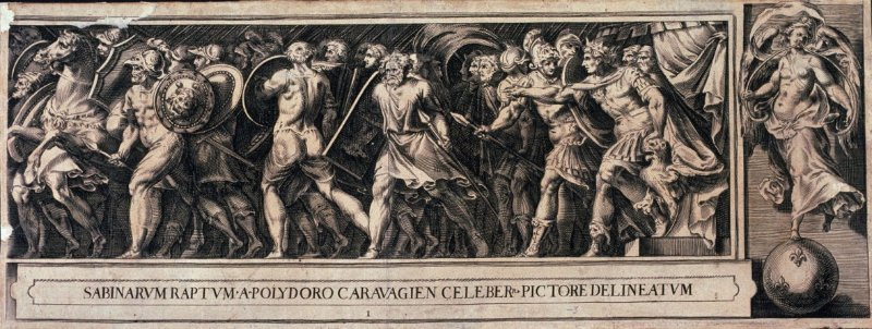 copy in reverse of The Rape of the Sabine Women, pl. 1 from a series of engravings after paintings by Polidor da Caravaggio