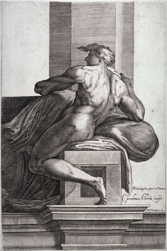 Seated Man Facing Left; from the series Studies of Seated Men after Michelangelo's frescoes in the Sistine Chapel, the Vatican, Rome