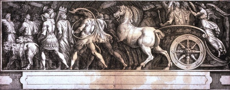 The Triumph of Two Roman Emperors, pl. 5 from a series of engravings after paintings by Polidor da Caravaggio