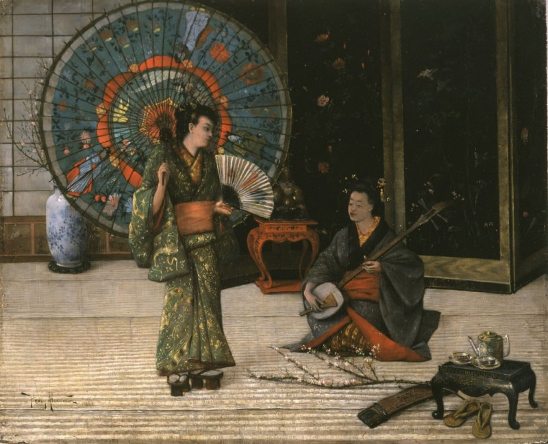 """Scene from """"The Mikado,"""" with Louise Paullin"""