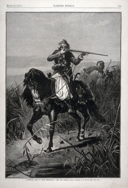 A Bedouin Arab of Moab Retreating over the Jordan, from Harper's Weekly, (10 March 1877), p. 189