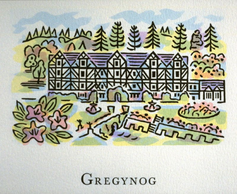 Gregynog, 8th illustration in the book An ABC Tour of Wales ( an alphabet book compiled by the artist) (Gregynog, Wales: Peter Allen, 1994)