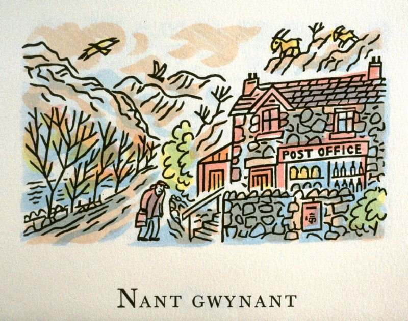 Nant Gwynant, 15th illustration in the book An ABC Tour of Wales ( an alphabet book compiled by the artist) (Gregynog, Wales: Peter Allen, 1994)