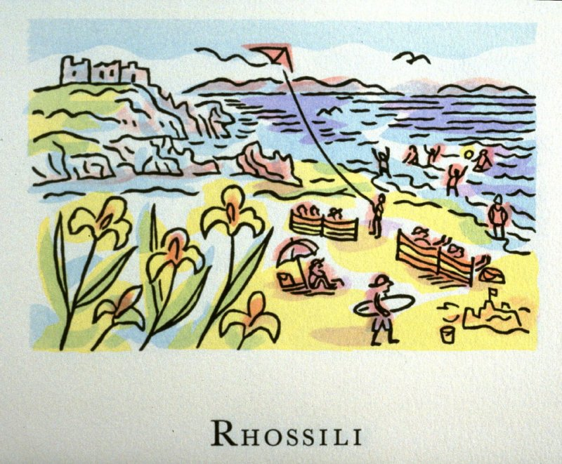 Rhossili, 19th illustration in the book An ABC Tour of Wales ( an alphabet book compiled by the artist) (Gregynog, Wales: Peter Allen, 1994)