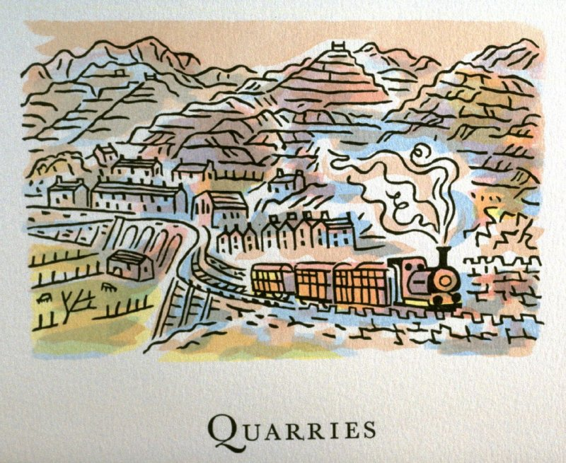 Quarries, 18th illustration in the book An ABC Tour of Wales ( an alphabet book compiled by the artist) (Gregynog, Wales: Peter Allen, 1994)