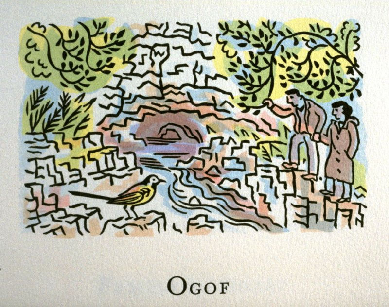 Ogof, 16th illustration in the book An ABC Tour of Wales ( an alphabet book compiled by the artist) (Gregynog, Wales: Peter Allen, 1994)