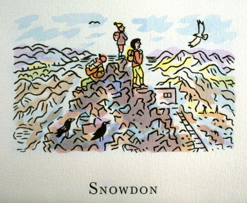 Snowdon, 20th illustration in the book An ABC Tour of Wales ( an alphabet book compiled by the artist) (Gregynog, Wales: Peter Allen, 1994)