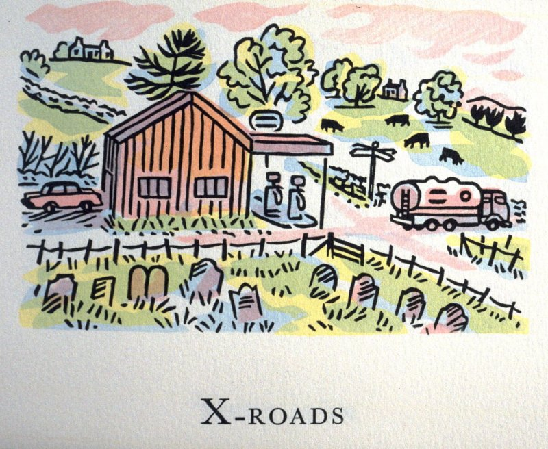 X-Roads, 25th illustration in the book An ABC Tour of Wales ( an alphabet book compiled by the artist) (Gregynog, Wales: Peter Allen, 1994)