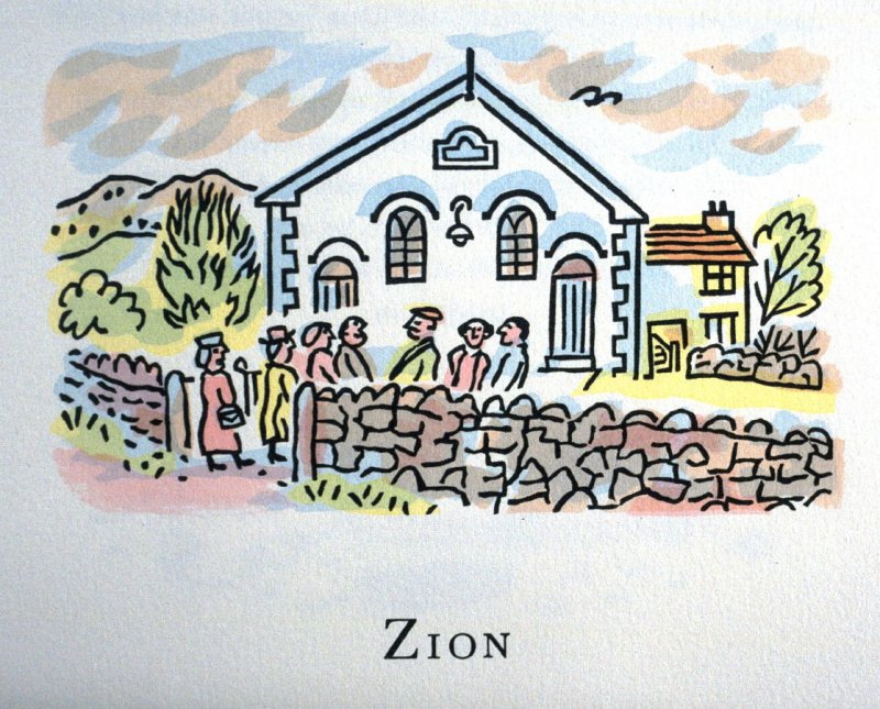 Zion, 27th illustration in the book An ABC Tour of Wales ( an alphabet book compiled by the artist) (Gregynog, Wales: Peter Allen, 1994)