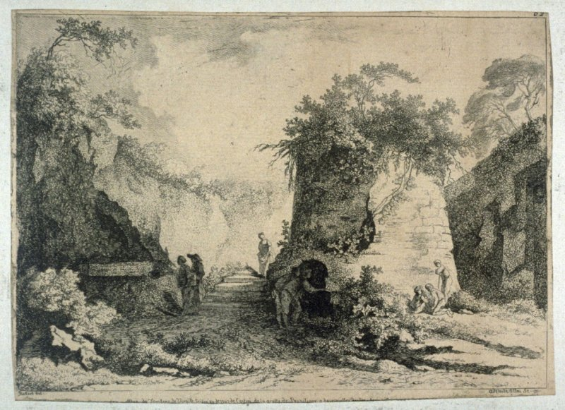A series of six etchings of ruins, after Fragonard and H. Robert.