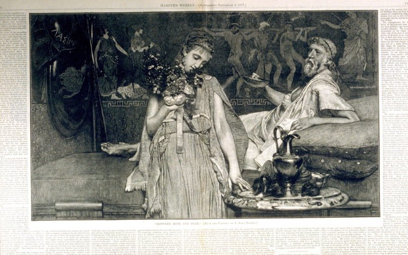 Between Hope and Fear - from Harper's Weekly, (September 8, 1877), p. 714 & 715