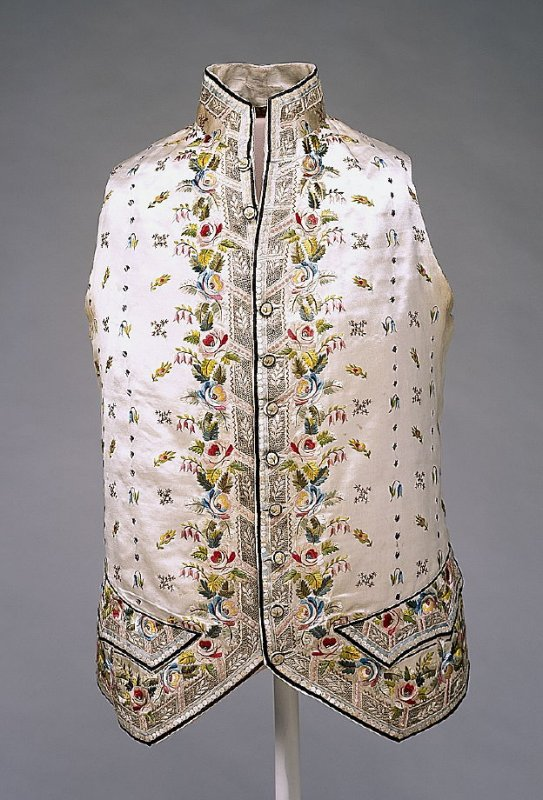 Man's court costume; coat, breeches, and waistcoat