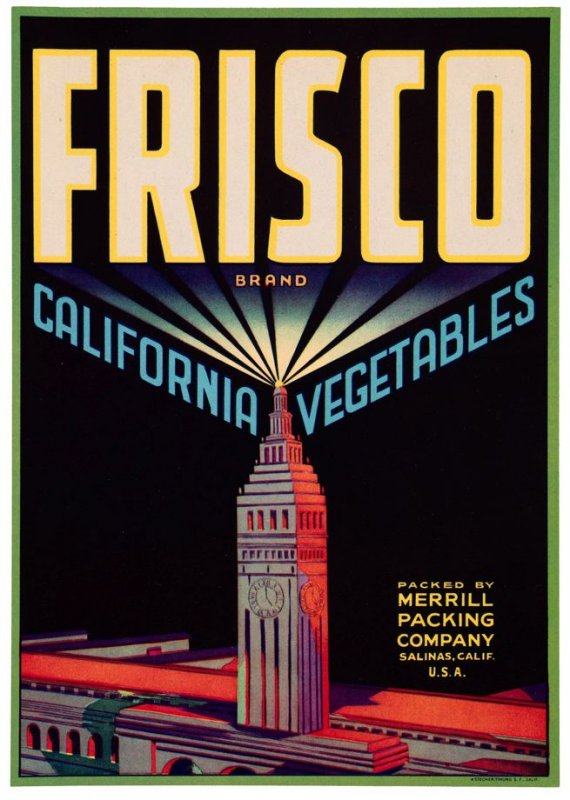 Crate Label for Frisco Brand California Vegetables, Merril Packing Company, Salinas, California