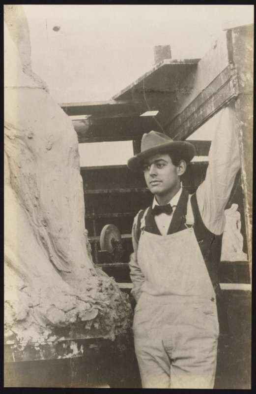 """Arthur Putnam, 1903 (working on his first large statue """"The Indian"""")"""