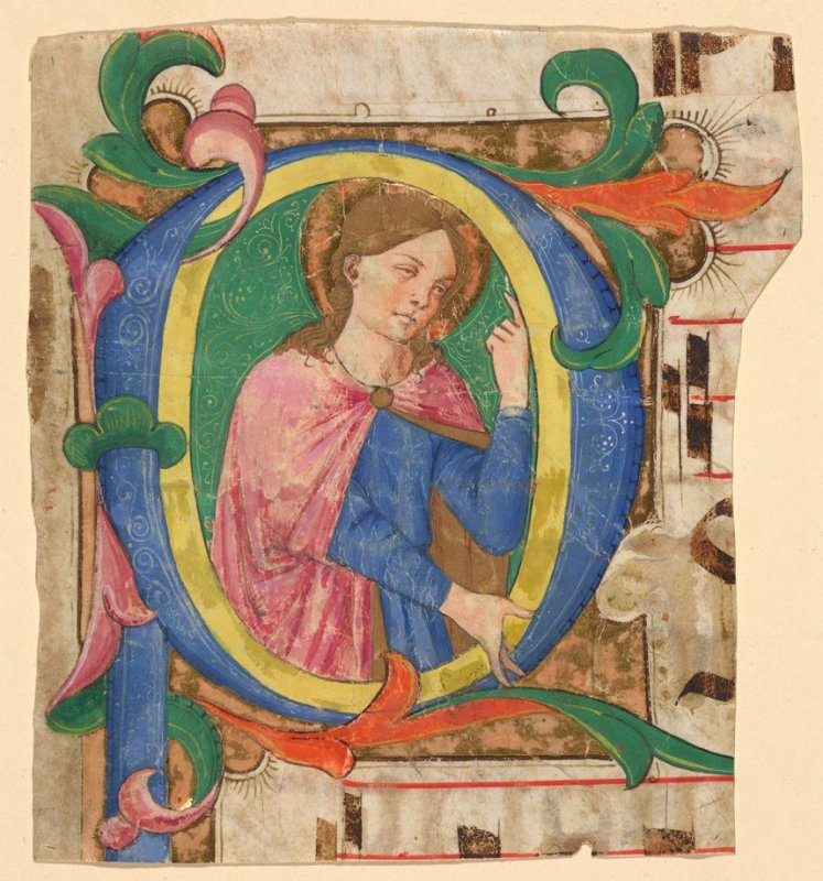 P with a Female Saint, a fragment of a page from an unidentified antiphonal