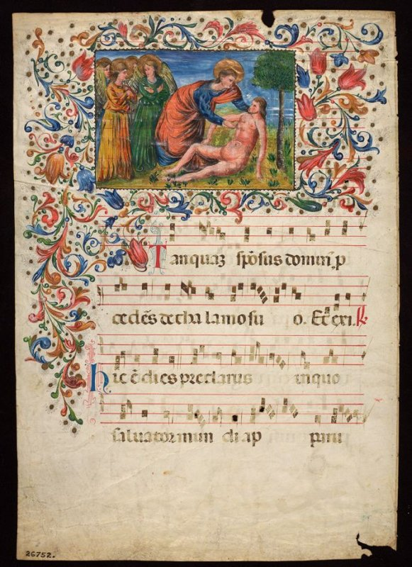 Parchment - Page from a Choral with miniature and decorative border