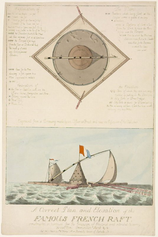 A Plan and Elevation of the Famous French Raft constructed on purpose for the invasion of England and intended to carry 30,000 men, ammunition, stores &c &c