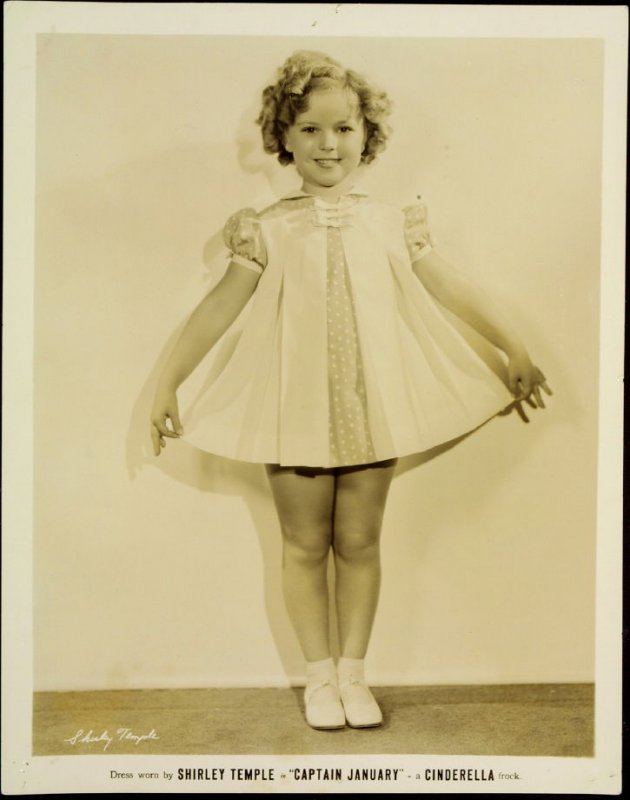 """Shirley Temple in """"Captain January"""" - a Cinderella Frock (film still)"""