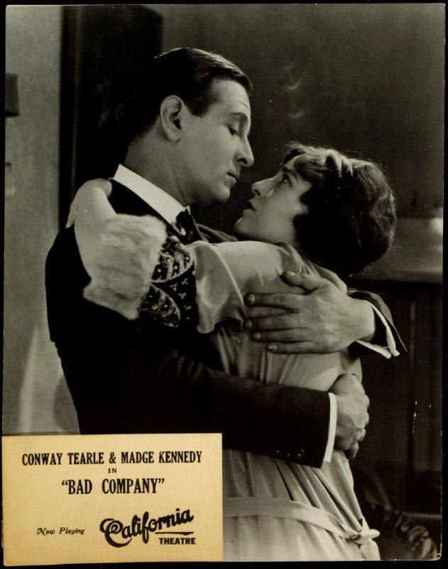 """Conway Tearle and Madge Kennedy in """"Bad Company"""" (film still)"""