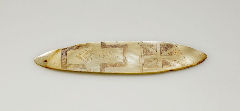 Pelvic Ornament Shell (Incised Deck of Cards and Union Jack) Aboriginal