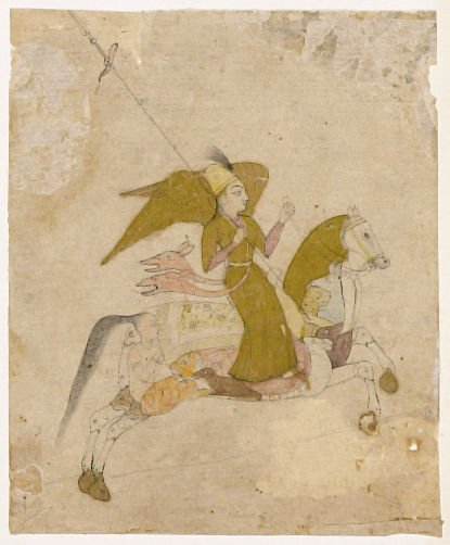 Winged Female Figure Riding a Composite Horse